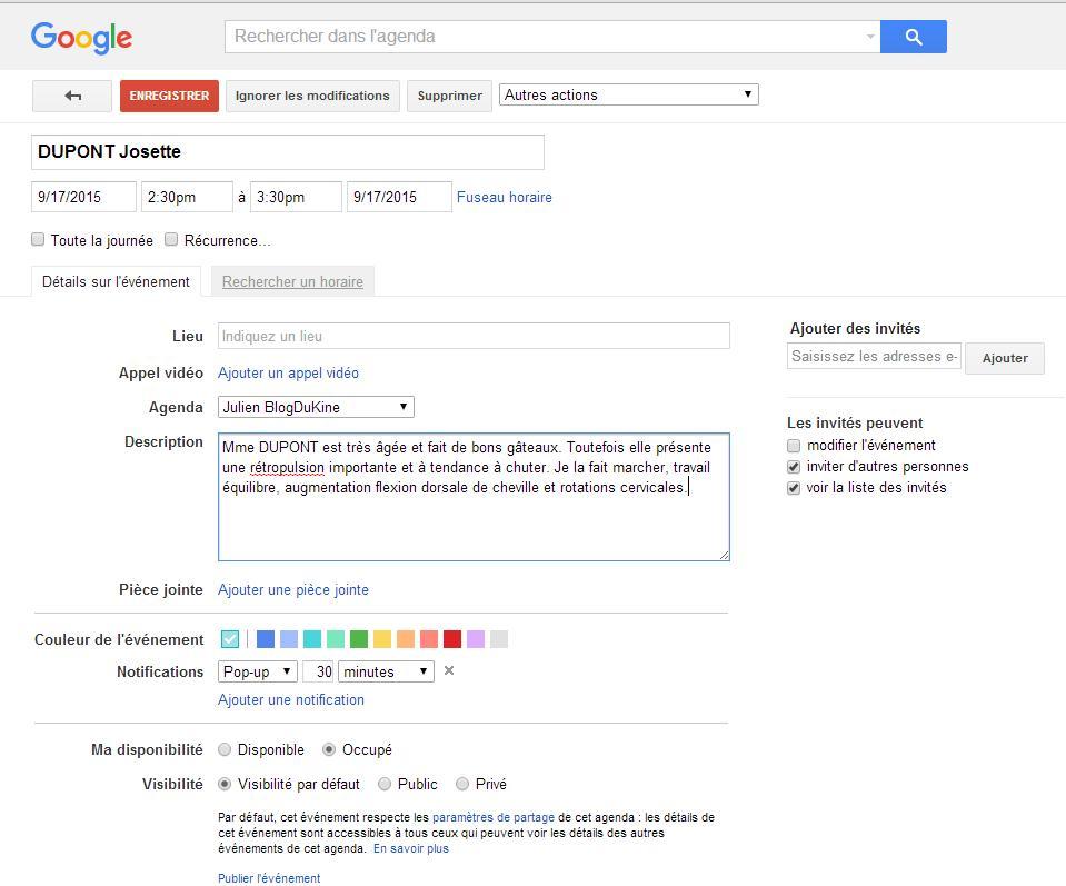 Evenement google agenda